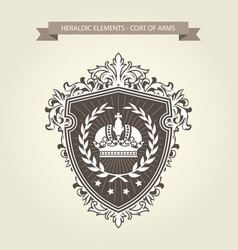 family coat of arms - heraldic shield with crown a vector image