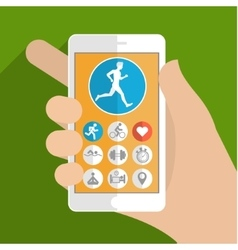 Fitness app concept on touchscreen vector image vector image