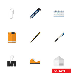 Flat icon tool set of date block nib pen pencil vector