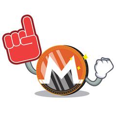 Foam finger monero coin character cartoon vector