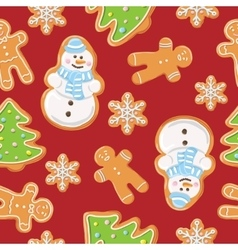 Ginger cookies seamless pattern vector image