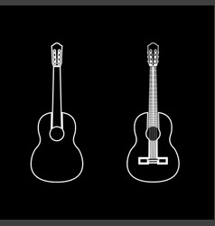 Guitar white color path icon vector