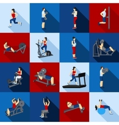 Gym workout people flat set vector