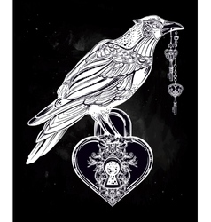 Hand drawn raven bird with heart shaped padlock vector