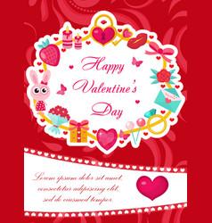 Happy valentine s day cute poster invitation vector