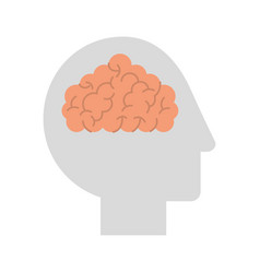 Human head profile with brain vector