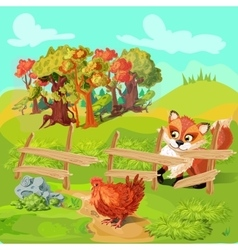 Hunting fox farm composition vector
