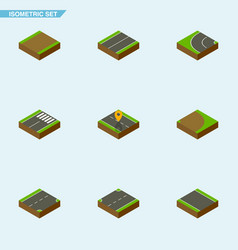 Isometric road set of rotation upwards without vector