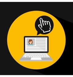 Laptop social profile hand cursor icon vector