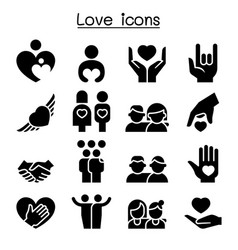 love relationship friend family icon set vector image vector image
