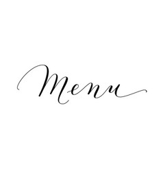 Menu word hand written custom calligraphy vector