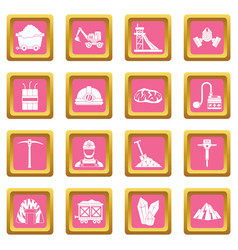 Miner icons pink vector