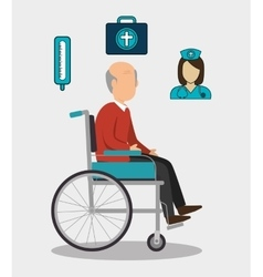 Old man and healthcare design vector