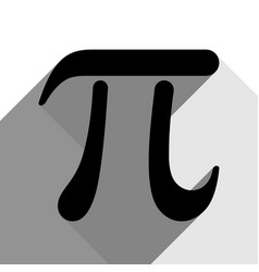 Pi greek letter sign black icon with two vector