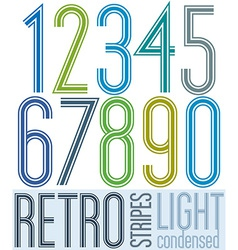 Poster retro light condensed colorful numbers with vector