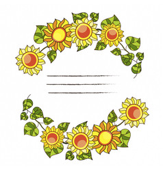 Round frame with sunflowers and green leaves vector