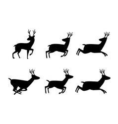 set of deer icon in silhouette style vector image