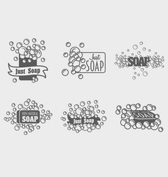 set of soap with foam logos or labels templates vector image