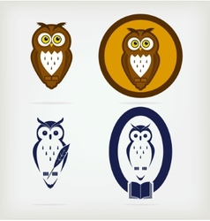 Set of wise owls vector image