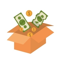 Silhouette packing open with money vector
