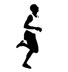 Silhouette running men vector