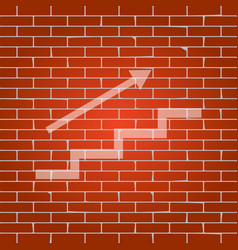 Stair with arrow whitish icon on brick vector