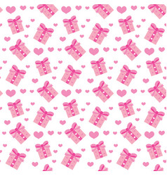 valentines day seamless pattern heart and gifts vector image