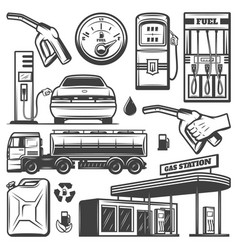 vintage gas station icons collection vector image