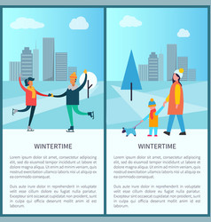wintertime poster happy couple dancing on skates vector image vector image