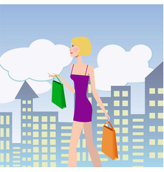 Woman shopping girl with shopping bags walking vector