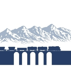 Freight train over mountains vector