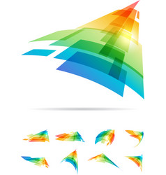 Tech colorful signs set vector