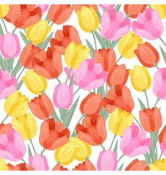 Spring flowers tulips natural seamless pattern vector image