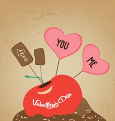 Valentines day cupcake sweet love you and me vector