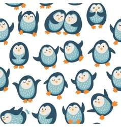 Seamless pattern with funny penguins vector