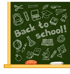 Back to school background with hand drawn icons on vector