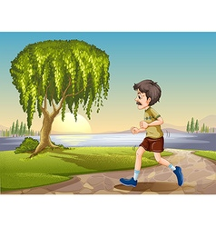 Old man jogging in the park vector