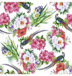 Seamless pattern with summer herbs and birds vector