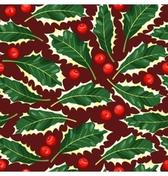 Seamless holly leaves vector