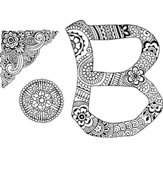 Letter b decorated in the style of mehndi vector