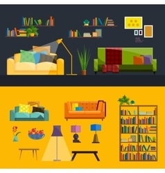 Living room Interior Modern flat design vector image