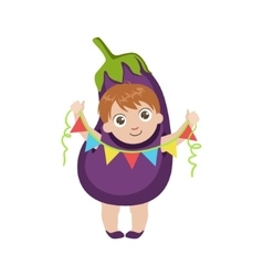 Boy dressed as eggplant vector