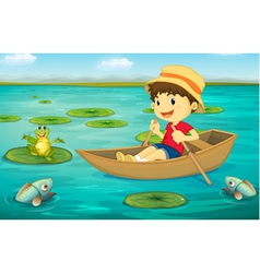 Boy in boat vector