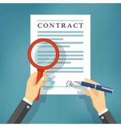 Hand checking contract with a magnifying glass vector