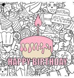 Birthday cupcake background happy birthday vector