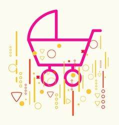 Baby carriage on abstract colorful geometric light vector