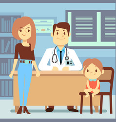 baby girl and her mother visiting pediatrician - vector image