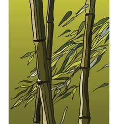 Bamboo with leaves in the wind vector
