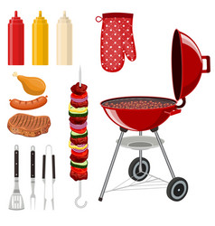 bbq barbecue elements set vector image