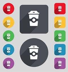 Breakfast coffee icon sign a set of 12 colored vector